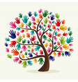 Colorful solidarity hand tree vector image vector image