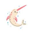 cute baunicorn fish or narwhal fairy sea vector image
