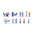 diverse hospital doctor and patient people set vector image vector image