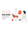 dog walking - modern flat design style web banner vector image