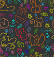 Doodle seamless pattern with foxes 1 vector image vector image