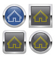 dotted icon home on glossy button in four vector image vector image