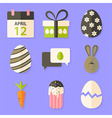 Easter icons set with shadows over violet vector image vector image