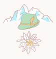 edelweiss tyrolean hat flower symbol alpinism alps vector image vector image