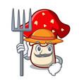 farmer amanita mushroom character cartoon vector image