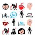 fatigue icons set tired sressed or sleepy vector image