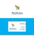 flat paper plane logo and visiting card template vector image