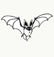 flying bat stylized contour drawing on a white vector image vector image