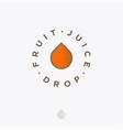 fruit juice drop logo organic beverages icon vector image vector image