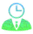 halftone blue-green time manager icon vector image vector image
