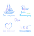 Hand drawn watercolor logos set on theme sea vector image vector image