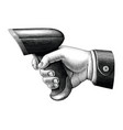 hand holding barcode scanner drawing vintage vector image