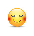 happy cartoon emoji face with closed eyes smiling vector image vector image