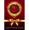 happy new year card with clock and ribbon vector image vector image