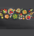 healthy food with ingredients on dark wooden vector image