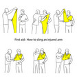 how to sling an injured arm outline vector image