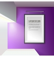 Illuminated wall with a frame for your message vector image vector image