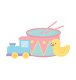 kids zone train duck and drum cartoon toys vector image