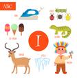 Letter I Cartoon alphabet for children Iguana vector image vector image