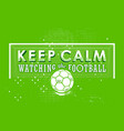 lettering poster keep calm watching the football vector image vector image