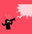 man screaming out loud with a megaphone he is vector image