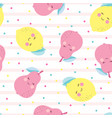 pattern with cute cartoon fruits vector image