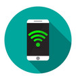 phone with wi fi in flat on turquoise circle vector image vector image