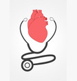 pictogram of a stethoscope and a heart vector image