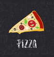 pizza lettering with hand drawn slice pizza vector image vector image
