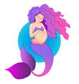 pregnant purple mermaid vector image vector image