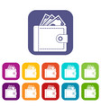 purse with money icons set vector image