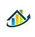 real estate house roof graph chart icon vector image