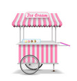 Realistic street food cart with wheels mobile