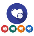 round icon heart with plus sign flat style vector image