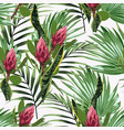 seamless pattern bright green colors palm leaves vector image vector image