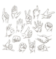 set hands and gestures - outline vector image