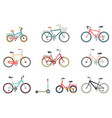 set of bicycles in a flat style isolated on white vector image vector image