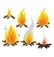 set of cartoon bonfires on white background vector image vector image