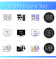 streaming services icons set vector image vector image