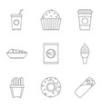street food icon set outline style vector image vector image
