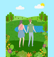 summer man and woman spend time together on nature vector image vector image