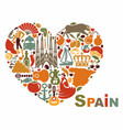 symbols of spain in heart shape vector image