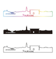 Toulouse skyline linear style with rainbow vector image vector image