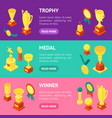 trophy cups awards banner horizontal set isometric vector image vector image