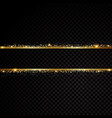 two golden lines with light effects isolated on vector image vector image