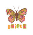 unique butterfly cute cartoon hand drawn il vector image
