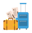 vacations suitcase bag and air tickets vector image vector image