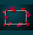 valentine s rectangular card with hearts vector image vector image