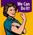 we can do it retro poster retro comic pop art vector image vector image