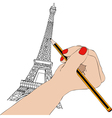 Woman draws the Eiffel Tower in Paris vector image